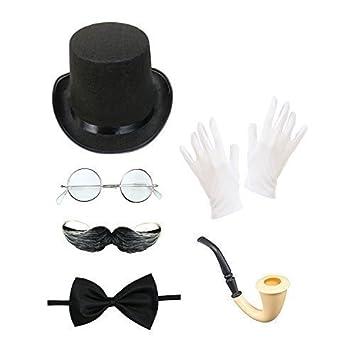 Homme Steampunk Ensemble Costume (Chapeau Haut-de-forme, Lunettes, Moustache , f3c801fb1304