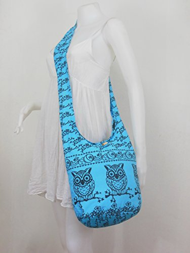Vintage Hippie Bag Shoulder body Cross Sling Medium Boho NaLuck Skyblue Owl Messenger qawZUU