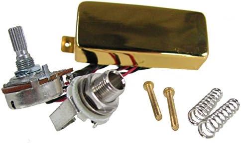 Cigar Box Guitar Pickup Piezo and volume pot Pre-soldered Jack socket Gold