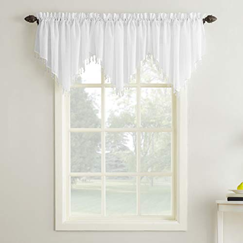 "Erica Crushed Sheer Voile Ascot Beaded Curtain Valance, 51"" x 24"", White"