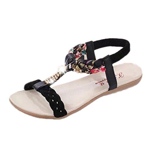 ANDAY Women's Bohemian PU Leather Open Toe Beach Sandal Diamond Rhinestone Flats Black ynxLUpl