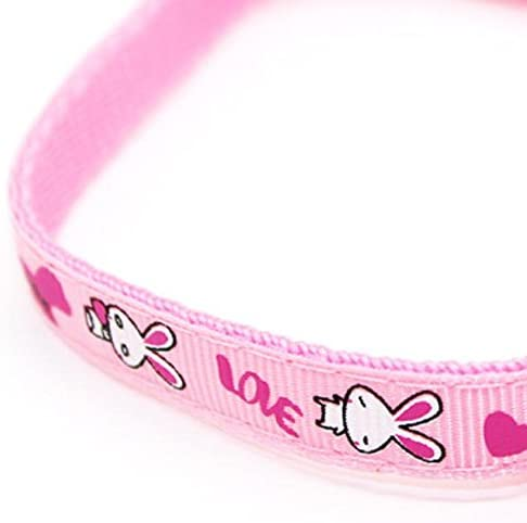 Pink S Walking Leash Rabbit Design Pet Collar Adjustable Cat Collar with Bell Quick Release Safety Buckle Necklace Collar for Cats Cat Supplies