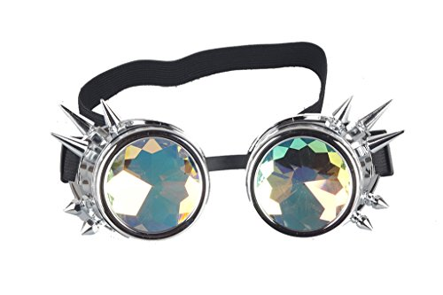 Kaleidoscope Rave Rainbow Crystal Lenses Steampunk Goggles Spike (Cyborg Costume Accessories)