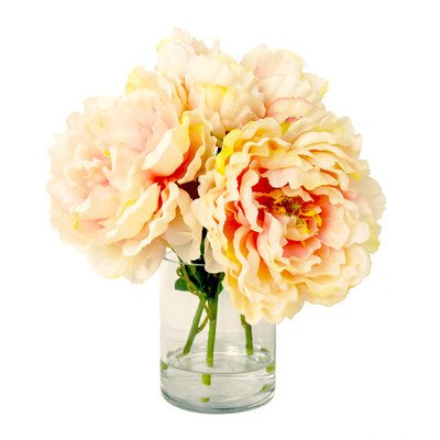 Glass Floral Containers (Peach Peony Bouquet in Water Vase)
