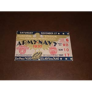 1937 ARMY NAVY COLLEGE FOOTBALL TICKET STUB EX MINT