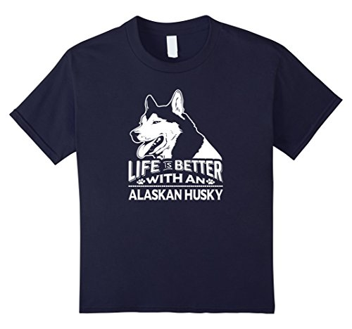 Kids Life is Better With An Alaskan Husky T Shirt 8 Navy
