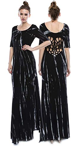 Tie Dye Elbow Sleeve Maxi Dress Side Slit Back Cutouts Made in...