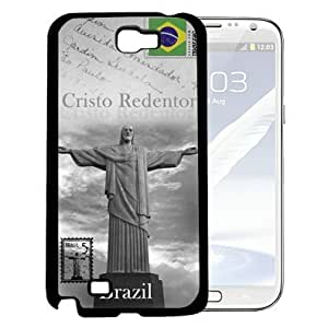 Cristo Redentor Statue Brazil Postcard in Gray with Small Brazilian Flag in Corner Hard Snap on Cell Phone Case Cover Samsung Galaxy Note 2 N7100