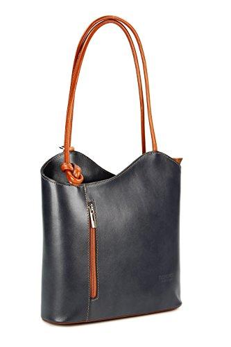 Belli Italiana. Piel Bolso Belli Backpack–Mochila para mujer piel–Selección de Colores–de piel–28x 28x 8cm (B X H X T) grau cognac