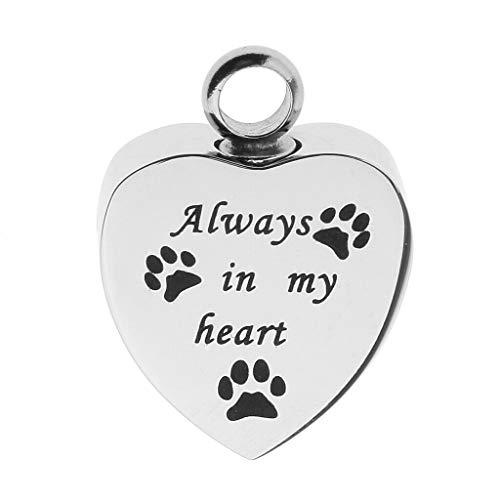 Dog Paw Cat Stainless Steel Locket Memorial Urn Keepsake Pendant Pet Creamtion Necklace Jewelry Crafting Key Chain Bracelet Pendants Accessories Best  Item - Always in My Heart