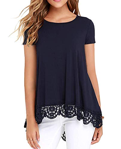 (UUANG Short Sleeve T-Shirt Casual Lace Trim O-Neck A-Line Tunic Blouse (Navy Blue,L))