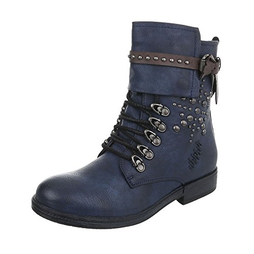 Women's Boots Block Heel Cowboy & Biker Ankle Boots at Ital-Design Dark Blue 5MMuKC