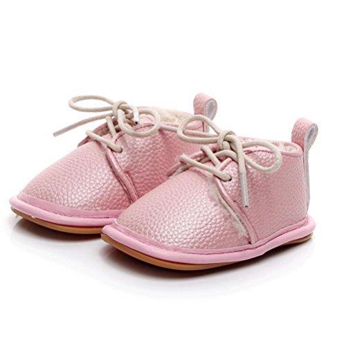 Igemy 1Paar Neugeborenen Kleinkind Baby Girls Boys Krippe Schuhe Soft Sohle Anti-Slip Sneakers Rosa