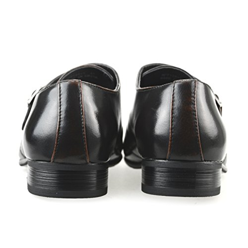 MM / ONE Herren Monkstrap Oxford Schuh Wasserabweisend Plain Toe Slip-on Medaillon Schwarz Braun Dunkelbraun Mpt125-5 Dunkelbraun
