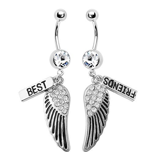 Belly Bar Button Rings Best Friends Wings Dangle 1.6mm 2 Pieces Best Friends Pier...