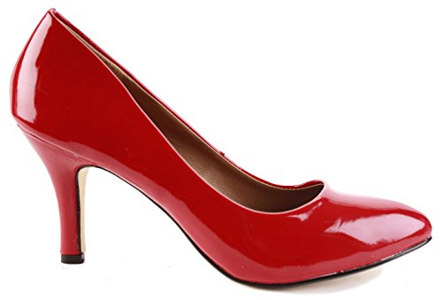 shoegeeks Ladies Womens Work Casual Office Smart Low Mid High Kitten Stiletto Heels Pointed Toe Bridal Court Bridesmaid Shoes Pumps Size 3-8 New Red Patent 5hVoMFu5