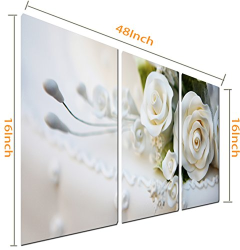 Mon Art 3 Piece White Roses Split Picture of Wall Art Decorate Canvas Artwork All Images on Large Wood Frames 40cm x 40cm x3 ( Stretched and Framed ) Ready to Hang
