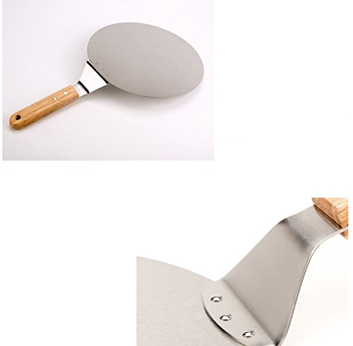 Pies Housewearall Pizza Peel Premium Non-Stick Aluminium Metal Paddle with Ergonomic Wooden Handle Perfect Pizza Shovel Baking Tool for Pizza Cakes Breads and Pastries 10 x 10 in