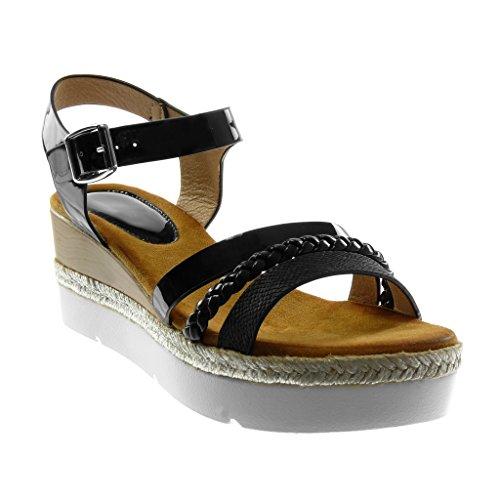 Angkorly Women's Fashion Shoes Sandals Mules - Ankle Strap - Platform - Sneaker Sole - Multi Straps - Patent - Braided Wedge Platform 6.5 cm Black
