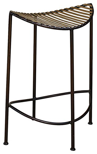 Modern Brass Bronze Half Moon Counter Stool 27'' Curved Open Iron Minimalist Gold by Global Views (Image #4)