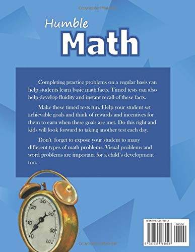 Humble Math – 100 Days of Timed Tests: Multiplication: Grades 3-5, Math Drills, Digits 0-12, Reproducible Practice…