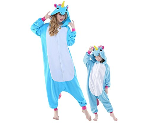 Adult New Kigurumi Cute Blue Unicorn Onesies Pajamas Cosplay Halloween Costume for Women Men S (Cheap Halloween Costumes Male)