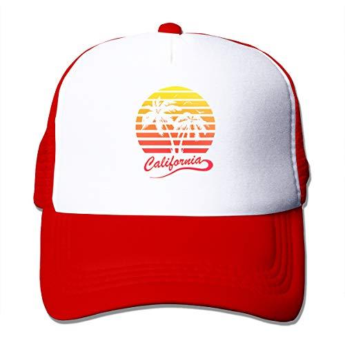 Unisex Trucker Hat California 80s Sunset Women Adjustable Mesh Cap Newest Hip Hop Caps Red