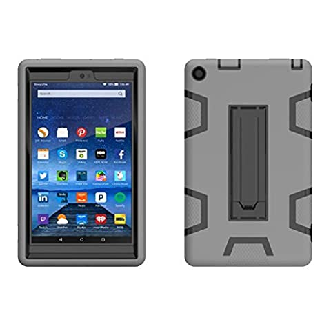 For Kindle Fire HD 8,Elevin(TM)2017 New Shockproof Military Heavy Rubber W/Hard Case Protective Stand Cover Case for Amazon Kindle Fire HD 8 2016 (Kindle Fire Case 6 Inch Hard Case)