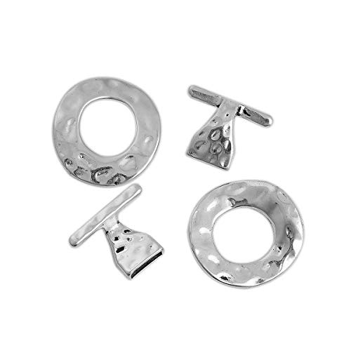 - 10 Sets Silver Tone Bracelet Toggle Clasps, DIY Jewelry Making Hammered Circle, 10mm Opening