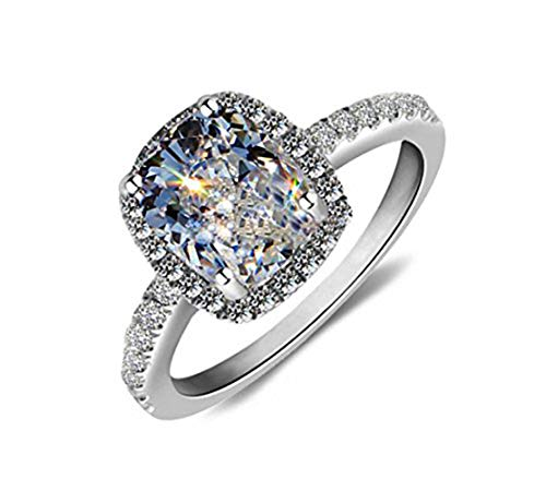 Ring 18k White Gold Gp Austria Swarovski Crystal Lady Bridal Marriage Jewelry Gift for Women R24a Size (7) ()