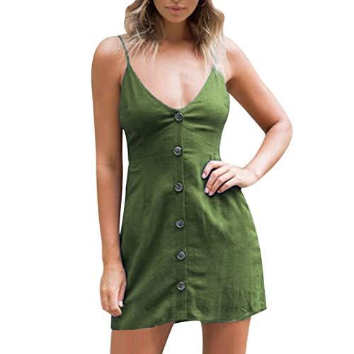 Summer Women's Boho Casual Short Dress A Line Backless Button Up Beach Short Mini Sundress (Green, M)