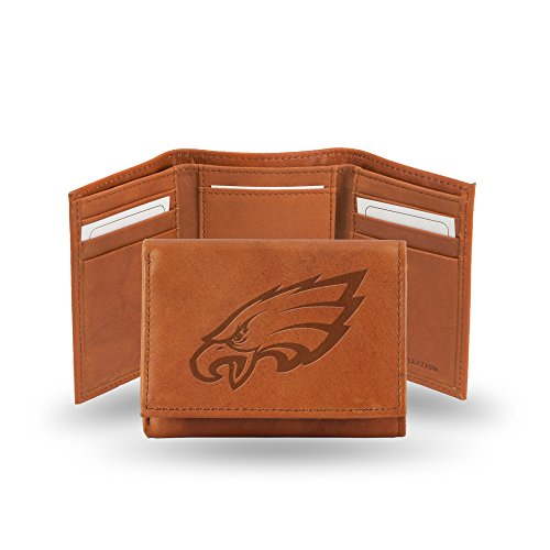 NFL Philadelphia Eagles Embossed Leather Trifold Wallet, Tan