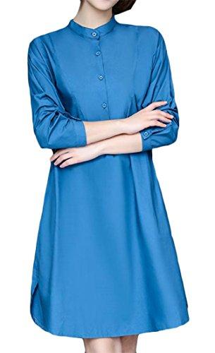 Si Metà Basamento Manica Del Colore Blu La Collare Slaccia Più Cromoncent Pulsante Frontale Puro Vestito Maglietta Del Donne Lunga waq4X75nWA