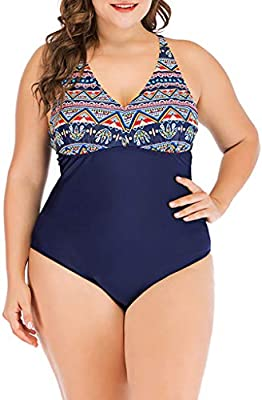 b178503cbe RNTOP 💘Swimsuit For Women💘Sexy Ladies Fame Style Print One-Piece Suits  Swimwear Backless Cross Strap Shaper Shapewear Swimsuits Plus Size (4XL