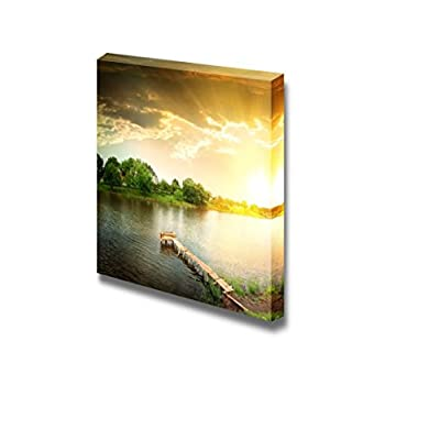 Canvas Prints Wall Art - Lake in The Evening - 24