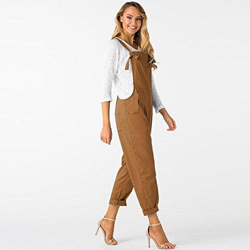 pour Femmes Jumpsuit Pantalon sans Poches Manches Longue Vrac Femmes avec Dungarees LSAltd Kaki en afqF1WcdFw