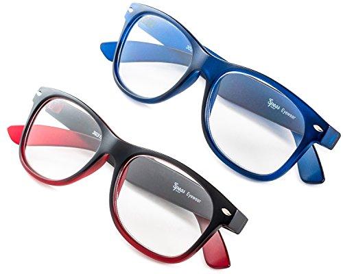 Specs Wayfarer Reading Glasses (Matte Blue and Black/ Red Gradient) +2.50 2-Pack