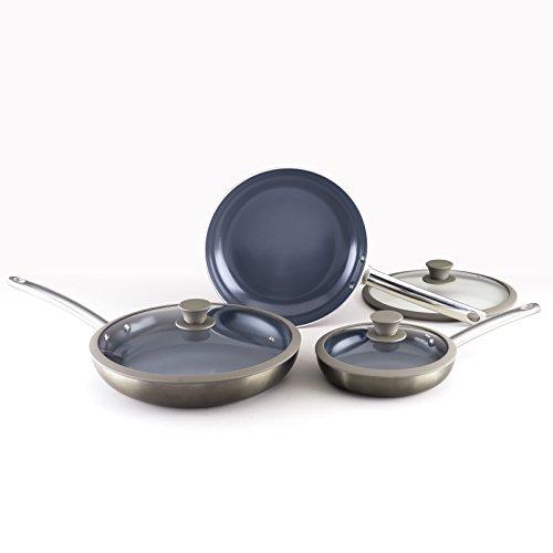 Todd English 6 Piece Fry Pan Titanium Ceramic Aluminum Cookware Set, Gunmetal