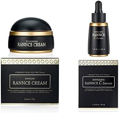 Rannce Brightening Cream & Serum Set, Improve Melasma and Freckles Reduces Dark Spot, Higher Level of Bright Skin Tone Perfecting Melanin Care Contain Alpha-Bisabolol, Kojic Acid