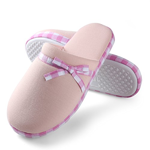 Pink Trim Slip Ons - Aerusi Women's Cute Bowknot Stripe Trim Cozy Plush Fleece House Slip On Slipper (Size XL: USA Size 11 - 12, Pink)