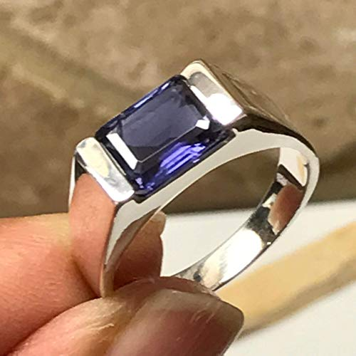 Natural 2ct Iolite { Water Sapphire } Emerald Cut 925 Sterling Silver Men's Ring 7.75, 8, 8.75, 9, 9.75, 10, 10.75, 11, 11.75, 12, 12.75, 13 -