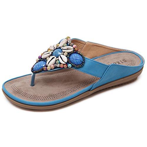Minetom Damen Sommer Boho Rhinestones Blumen T-Strap Flip Flop Zehentrenner Perlen Strass Pantoffeln Sandalen Flache Schuhe Strand Hausschuhe Blau
