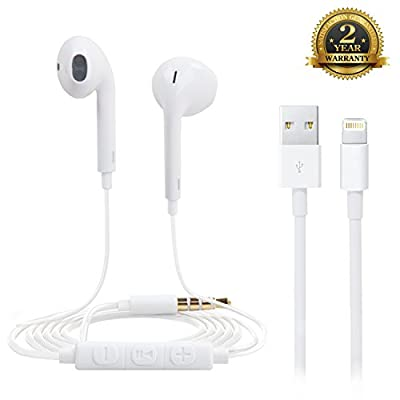 Adoric (TM) Replacement Handsfree Stereo Earbuds, Earpods, Headphones, Headsets with High Quality Mic and Remote Volume Control Premium Quality Sound-Made for iPhone/iPod/iPad/Android Smartphone/Tablets/MP3 Players-24 Month Warranty -White