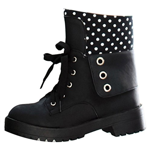 Coolcept Warm Ankle Fashion Boots Women Black Heel On Pull Mid Lined UrUPSn