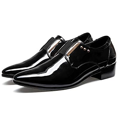 Duckmole Mens Leather Pointed Tongue Elastic Band with Metal Ornament Slip-on Loafers Size7-12