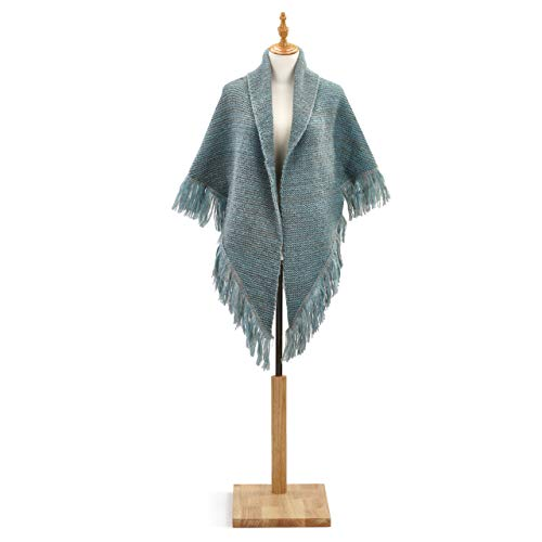 - Heahtered Teal Women's Large Acrylic Knit Triangle Shawl Wrap