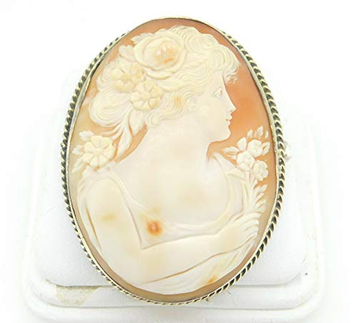 Frame Shell Cameo Pin - Sterling Large Genuine Natural Shell Cameo Pin Pendant with GW Frame (#J4230)