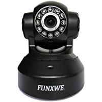 Funxwe WiFi 720P HD IP Camera Wireless/Wired Internet Baby Monitor Two-way Audio PTZ Pan/Tilt P2P CCTV Security Surveillance Night Vision Support iOS Android SD TF Card Black FW33