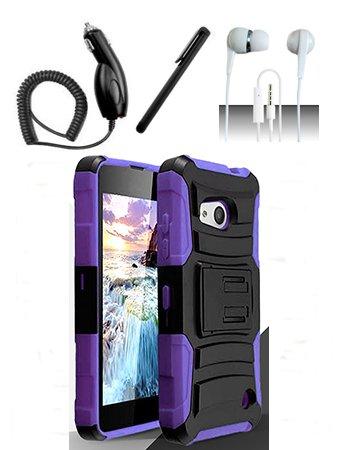 Nokia Lumia 550 [Shoparound168] Purple / Black Hybrid Armor Dual Layer Case w/ Built in Kickstand and Holster + Car Charger + Free Stylus Pen + Free 3.5mm Earphone (Nokia Lumia 550)