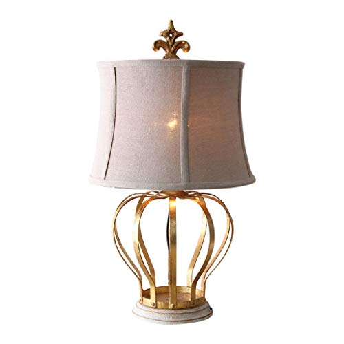 Bright American Country Creative Crown Lamp Bedroom Bedside Lamp Retro Gold Foil Wrought Iron Desk Lamp Lighting System Craft Wrought Iron Square Knob